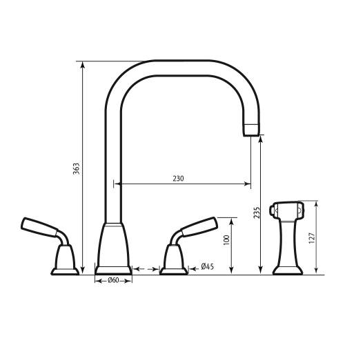 Perrin and Rowe 4878 Titan Four Hole Kitchen Tap with Rinse Technical Image