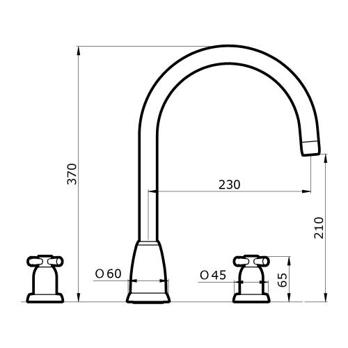 Perrin and Rowe CALLISTO 4885 Kitchen Tap Technical Image