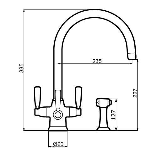 Perrin & Rowe 1580 METIS Filtration Mixer Tap with Lever Handles and Rinse Technical Image