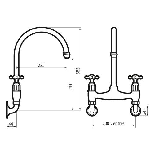 Perrin and Rowe Ionian 4182 Kitchen Tap Technical Image