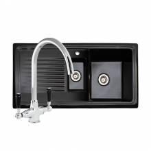 Reginox RL401CB Black Ceramic 1.5 Bowl Sink With FREE Reginox BROOKLYN Tap left hand drainer.