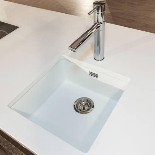 Reginox Regi-Color OHIO 40x40 Single Bowl Sink - Arctic White with Hudson Tap