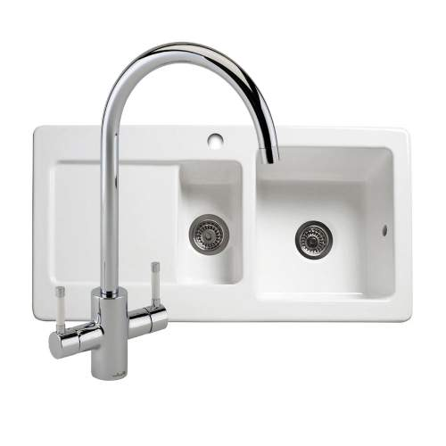RL501CW 1.5 Bowl Ceramic Kitchen Sink and Genesis Kitchen Tap