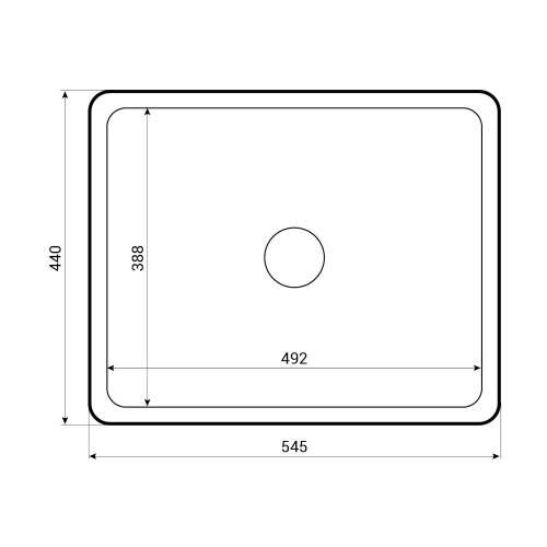 Caple Ettra 600 Ceramic Undermount Kitchen Sink Tech Drawing