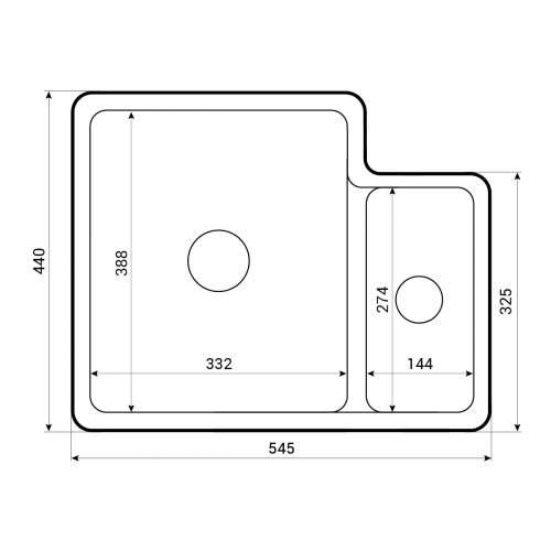 Caple Ettra 150 1.5 Bowl Ceramic Undermount Kitchen Sink Tech Drawing