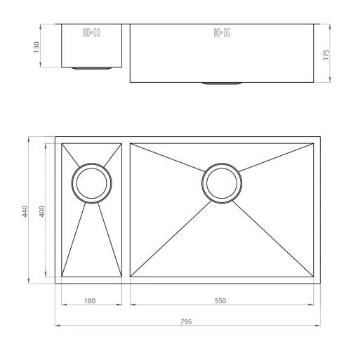1810 Company ZENDUO 550/180U Undermount Kitchen Sink