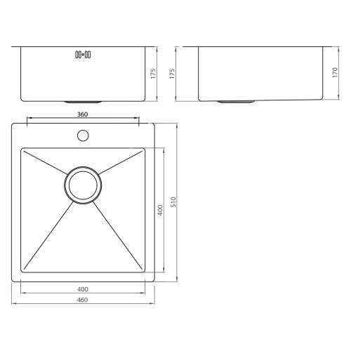 1810 Company ZENUNO 400 I-F 15R Undermount Kitchen Sink