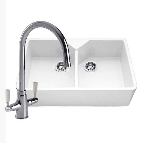 Double bowl ceramic kitchen sink with free tap