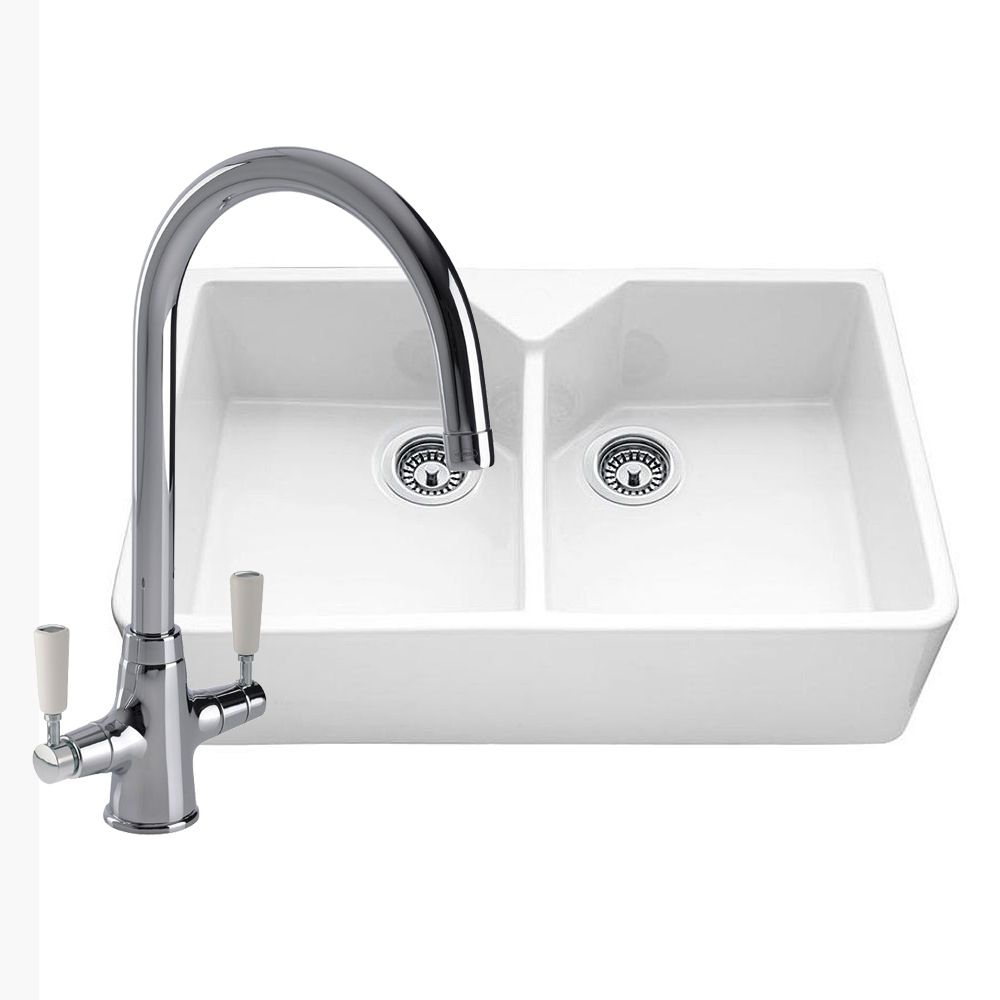 Double bowl ceramic kitchen sink with free tap sinks taps double bowl ceramic kitchen sink with free tap workwithnaturefo