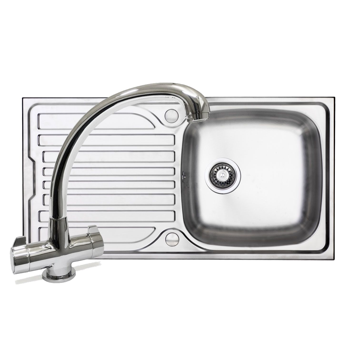bluci turin 100 kitchen sink and milano tap pack