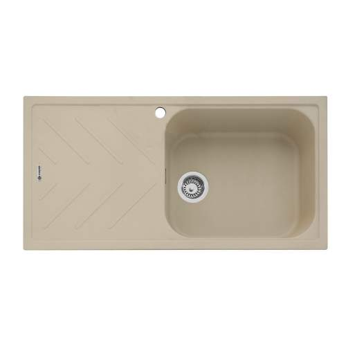Veis 100 Inset Sink With Drainer - Desert Sand