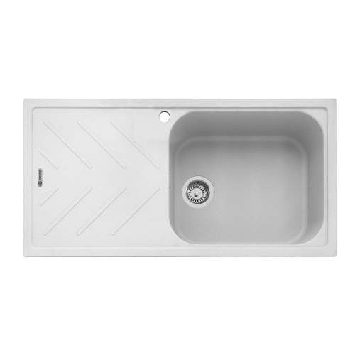 Veis 100 Inset Sink With Drainer - Chalk White