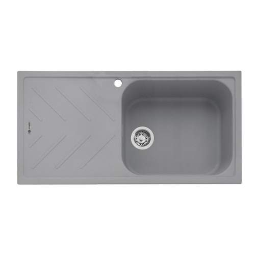 Veis 100 Inset Sink With Drainer - Pebble Grey