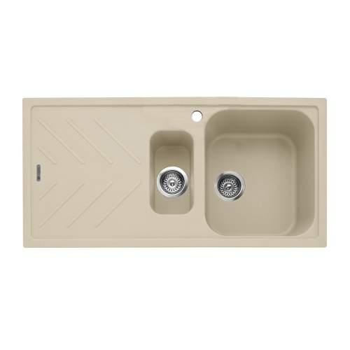 Caple Veis 1.5 Bowl Inset Sink With Drainer - Desert Sand