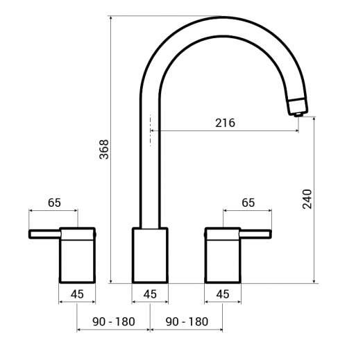 Pronteau Profile 3 part technical drawing