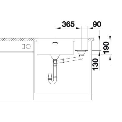 Blanco ANDANO 500/180-U 1.5 Bowl Undermount Kitchen Sink