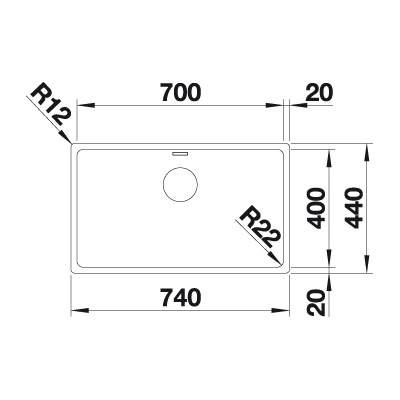 Blanco ANDANO 700-IF Single Bowl Inset Kitchen Sink - BL467005