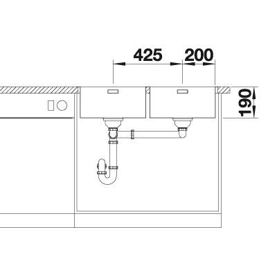 Blanco ANDANO 400/400-IF/A Double Bowl Inset Kitchen Sink - BL467013
