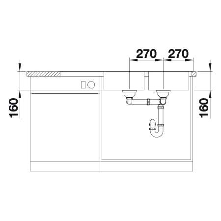 Blanco LANTOS 8 S-IF COMPACT Double Bowl Kitchen Sink with Drainer - BL453628