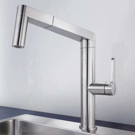 Blanco PANERA-S Kitchen Tap with Pull-Out Hose in Stainless Steel - BM3142SS