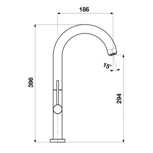 Blanco TRIM II Kitchen Tap with Long Reach Spout in Chrome - BM1600CH