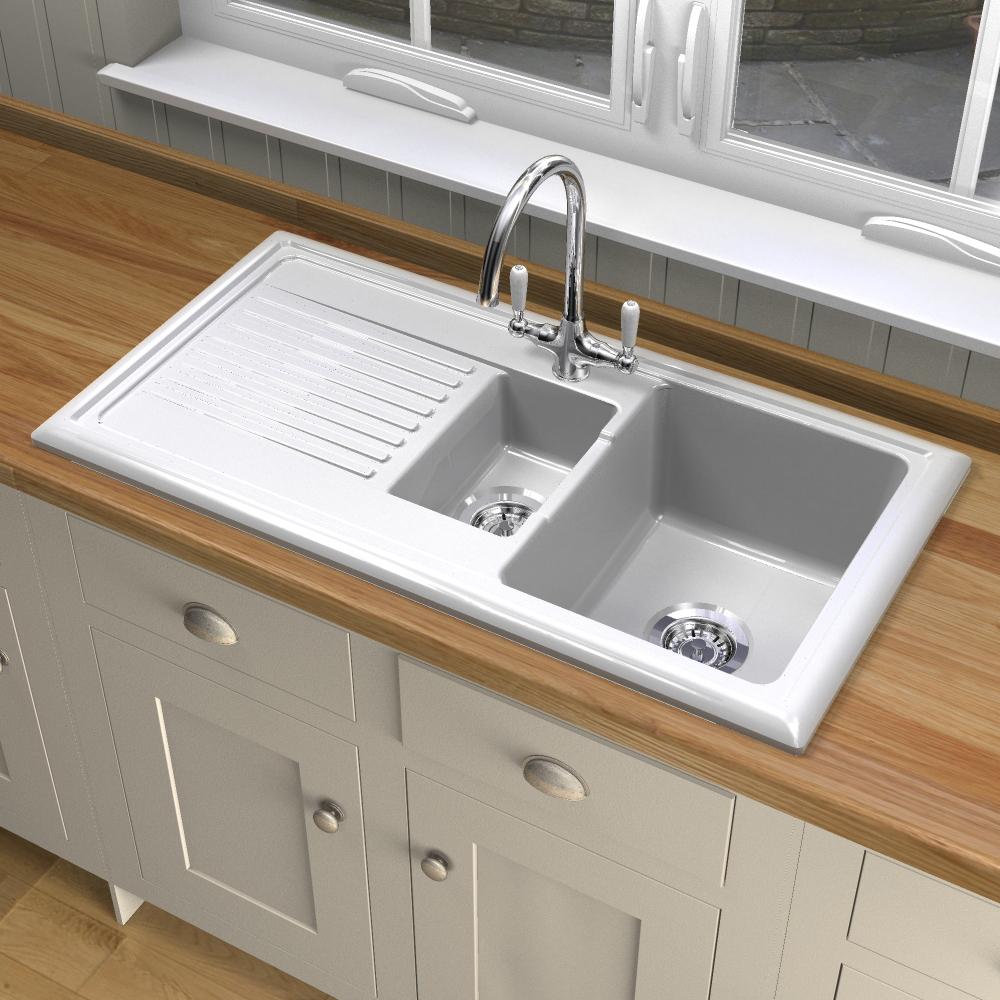 Reginox RL301CW Ceramic sink and Elbe tap - Sinks-Taps.com