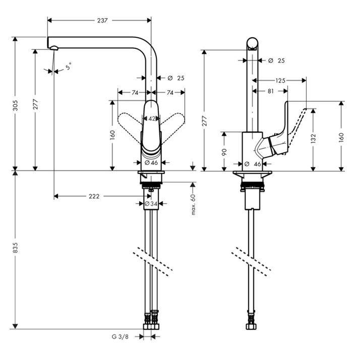Hansgrohe Focus 280 Kitchen Mixer Tap Sinks Taps Com