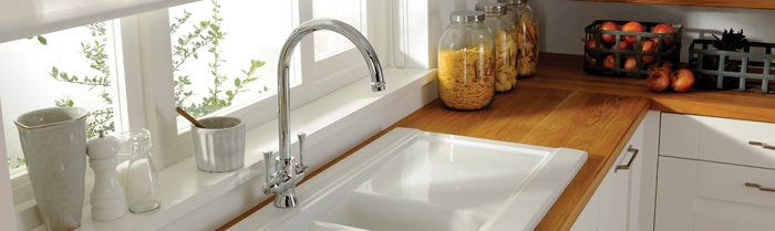 Twin lever kitchen taps from sinks-taps.com