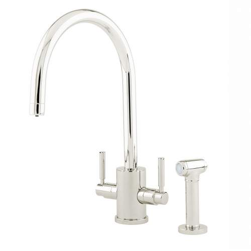 Perrin and Rowe ORBIQ 4312 'C' Spout Dual Lever Kitchen Tap with Rinse