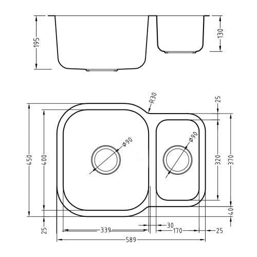1810 Company ETRODUO 589/450U REV Reversible Undermount Kitchen Sink