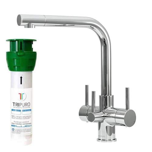 Bluci NOVANTA2 TriPuro Water Filter Kitchen Tap with Three Levers with Filter and Housing