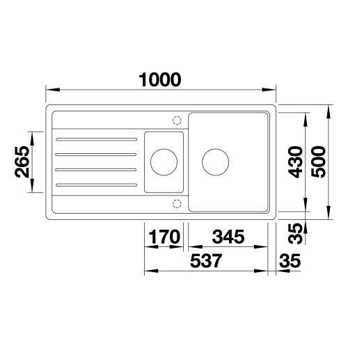 Blanco LEGRA 6 S SILGRANIT Kitchen Sink Technical Drawing