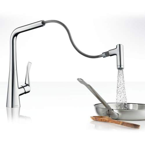 Hansgrohe Metris Select Single Lever Kitchen Mixer Tap 320 with Pull-out Spray - 314884000