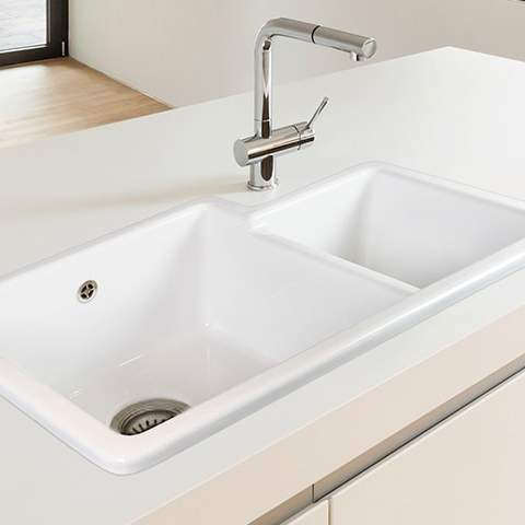 Shaws Brindle 800 1.75 Bowl Ceramic Kitchen Sink