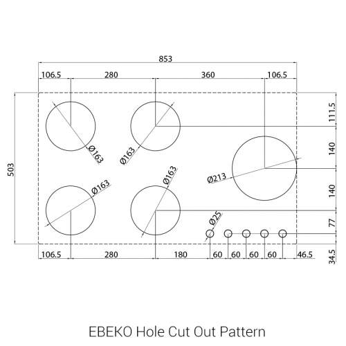 EBEKO PITT by Reginox - 5 PITT Individual Burner Gas Hobs