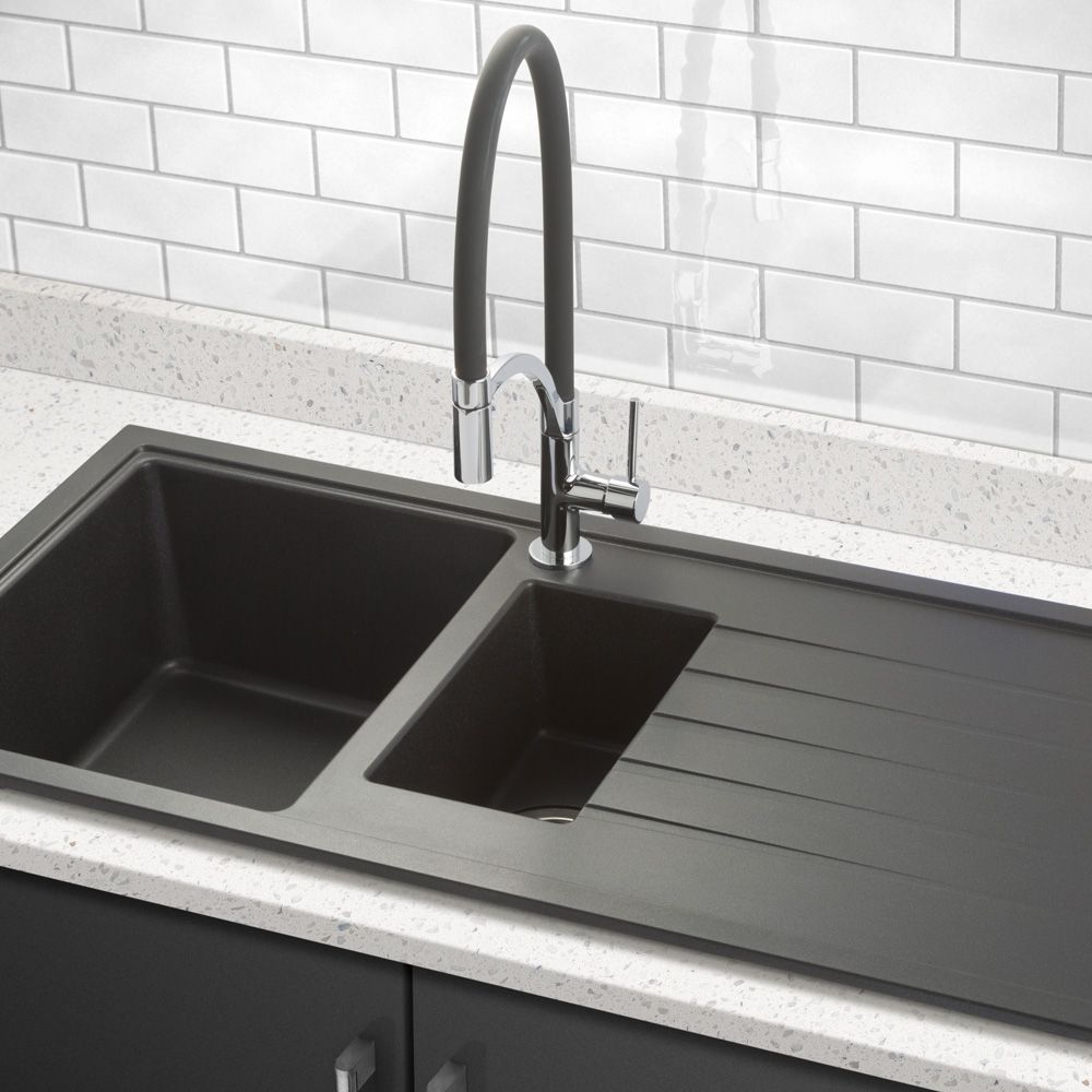 bluci piazza 1 5 bowl granite kitchen sink sinks taps com rh sinks taps com black kitchen sinks australia black kitchen sinks south africa