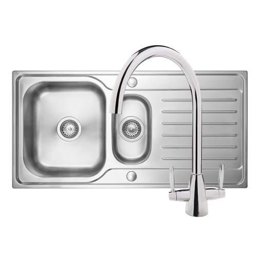 Bluci RUBUS 15 1.5 Bowl Kitchen Sink & Rienza Chrome Tap Pack