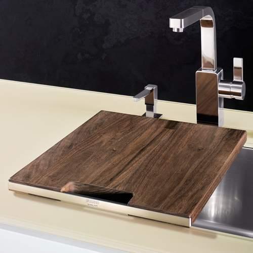 Blanco Steelart Elements Wooden Walnut Finish Chopping Board - BL467638 Lifestyle