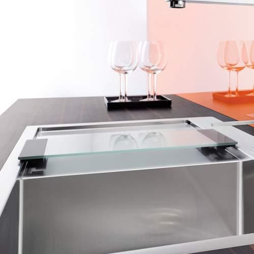 Blanco Steelart Clear Glass Chopping Board Lifestyle