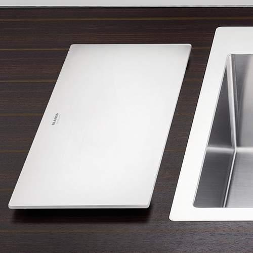 Blanco Steelart Elements White Glass Chopping Board Lifestyle