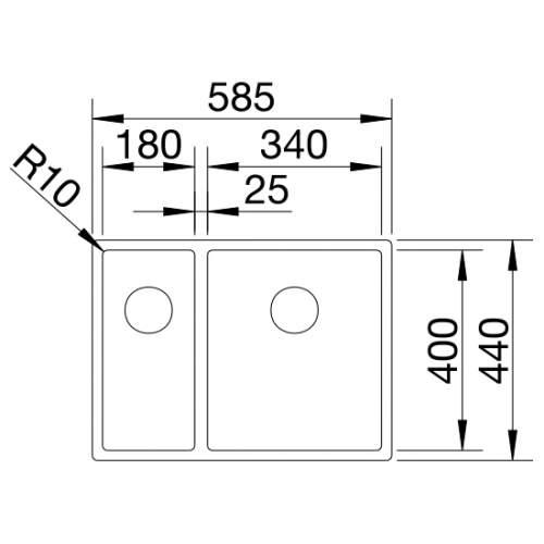Blanco CLARON 340/180-U Steelart Elements Undermount Kitchen Sink - Models: BL467696 & BL467697
