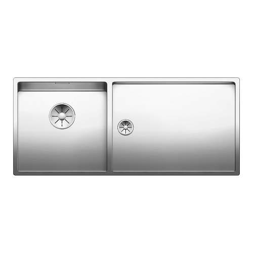 Blanco CLARON 400/550-T-U Steelart Elements Undermount Kitchen Sink & Large Shallow Drainer