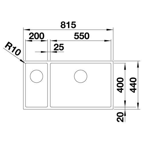 Blanco CLARON 550/200-U Steelart Elements 1.5 Bowl Undermount Kitchen Sink