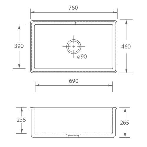 Shaws CLASSIC SINGLE 800 Inset Large Bowl Sink
