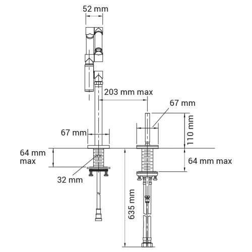 Kohler KARBON Kitchen Mixer Tap with Dual Spray Tech drawing