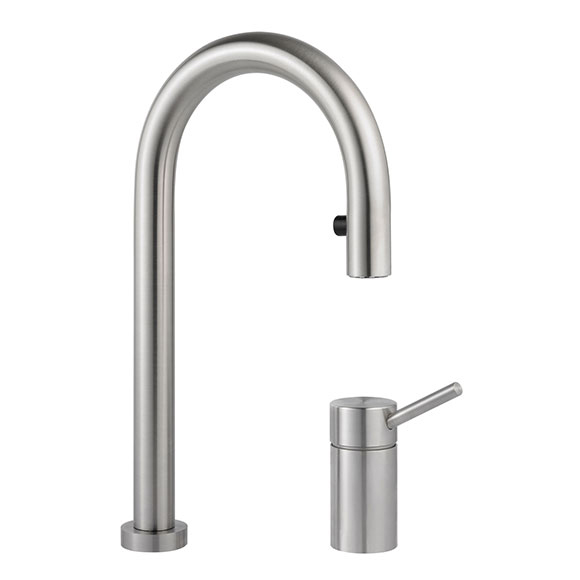 kwc inox light 2 hole led kitchen tap w pull out spray