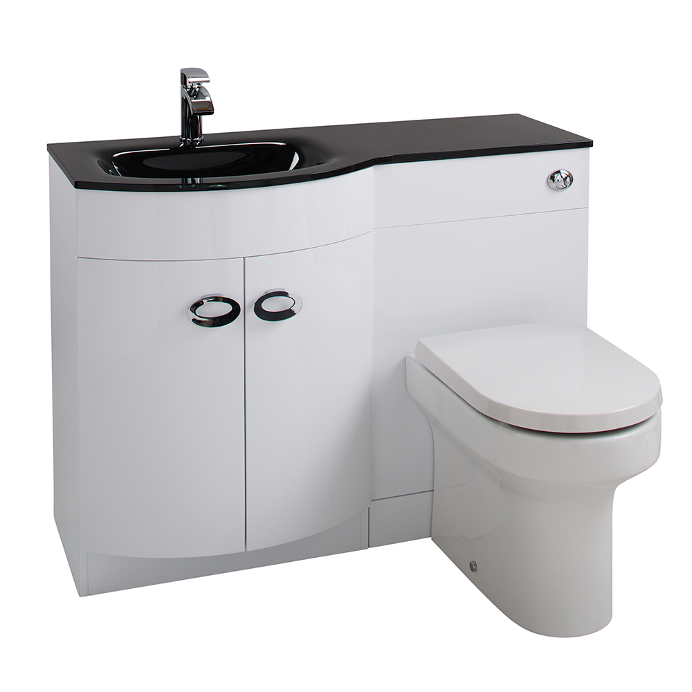 Aquabro D Shaped Basin Amp Wc Set With Black Glass Sink Sinks Taps Com