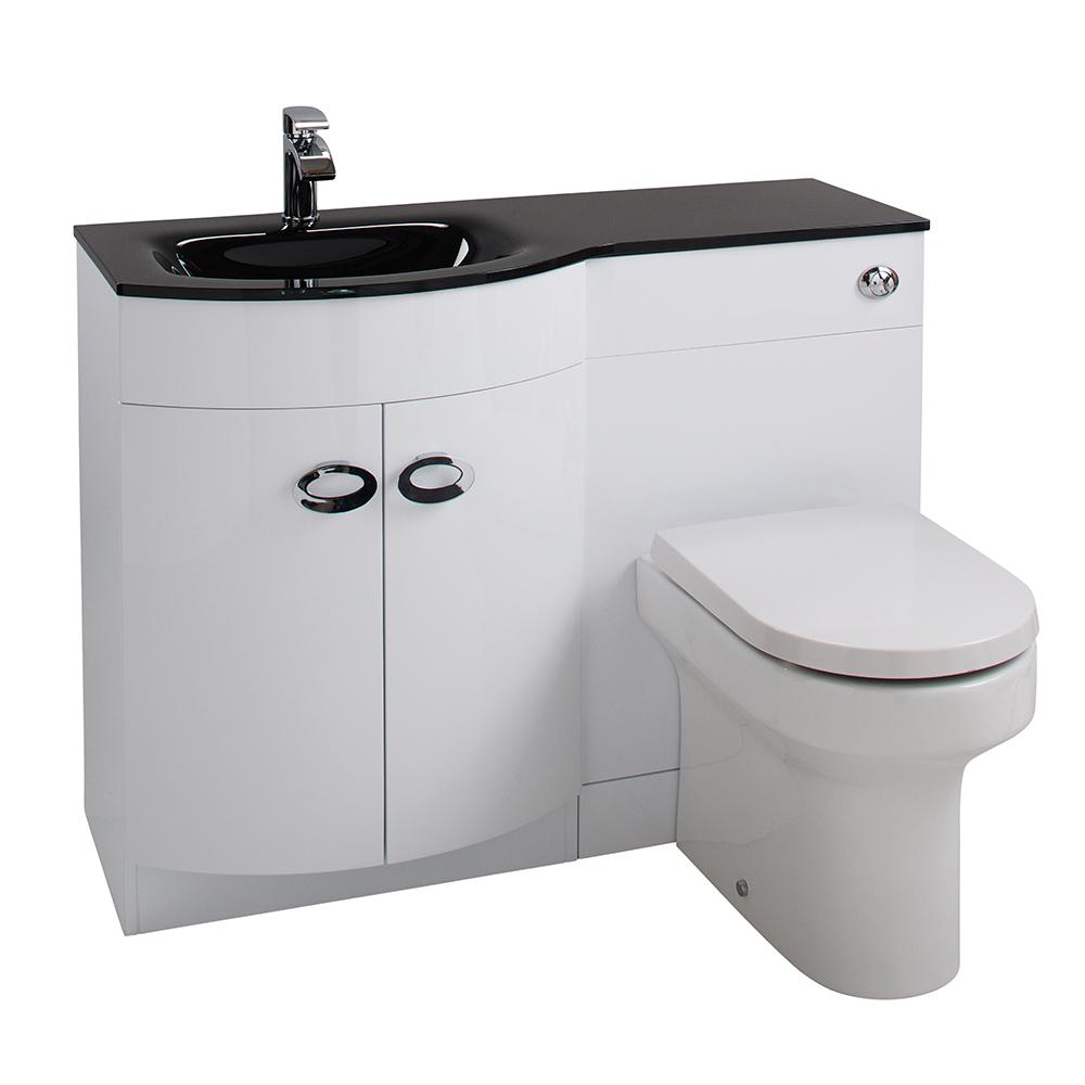 aquabro d shaped basin wc set with black glass sink. Black Bedroom Furniture Sets. Home Design Ideas