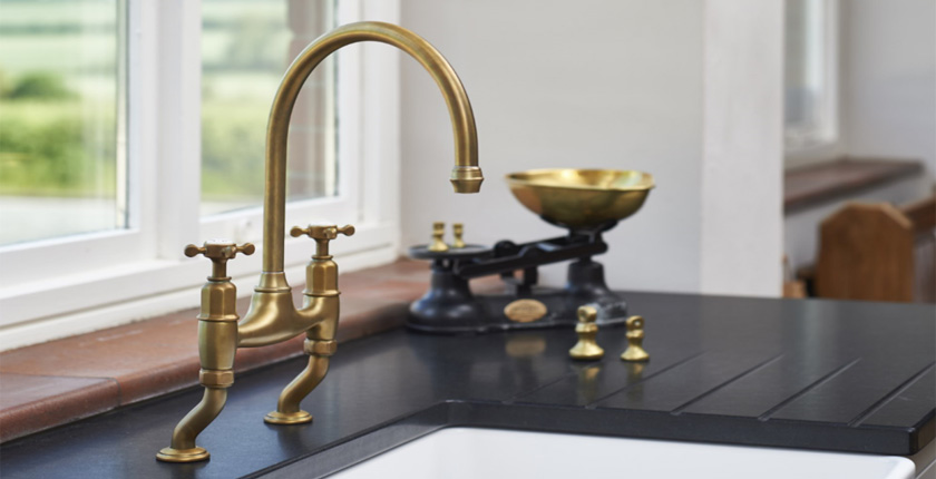 Perrin & Rowe Traditioanl Kitchen Tap in Aged Brass