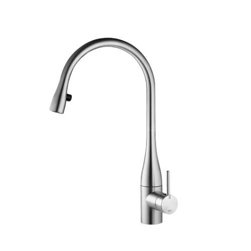 KWC EVE Kitchen Mixer Tap with Pull-Out Spray & LED in Stainless Steel